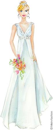 Informal Wedding Dress Chiffon V-Neck Flyaway Beaded